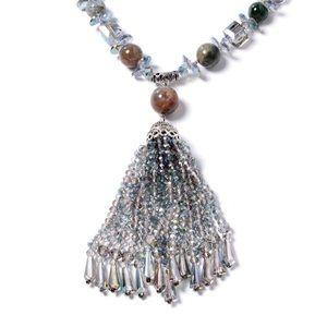 Jewelry - Indian Agate Multi Gemstone Tassel Necklace